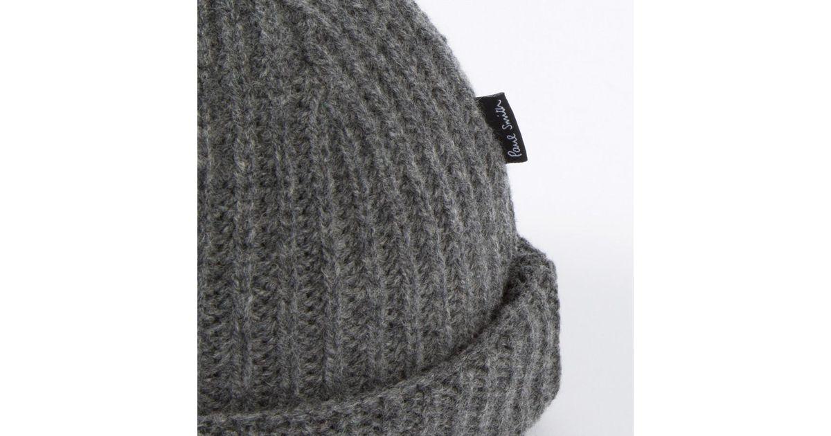 b3826cf9f04 Paul Smith Men s Grey Lambswool Bobble Hat in Gray for Men - Lyst