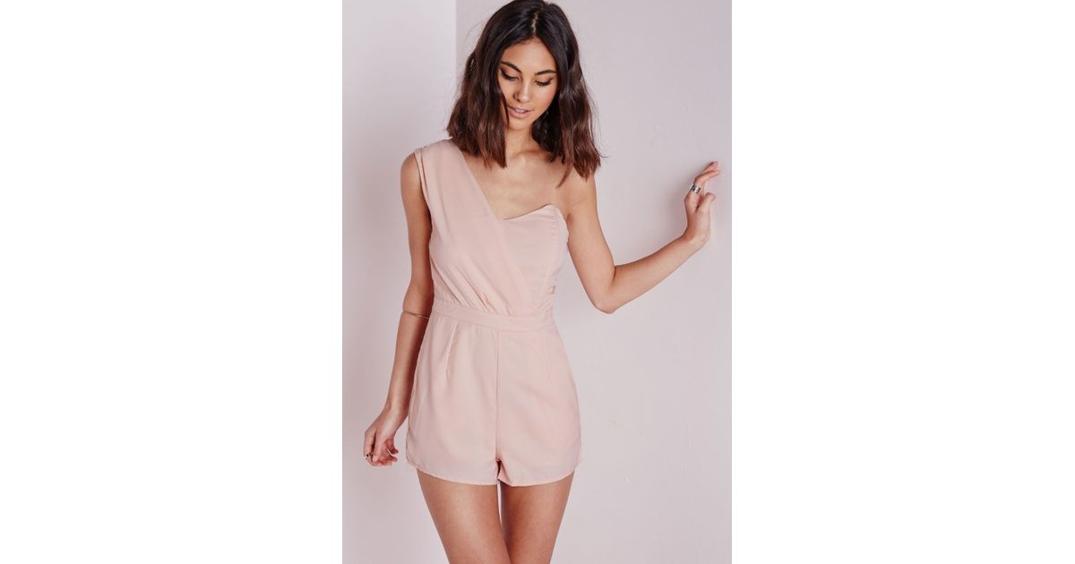 638de78e8f6 Missguided One Shoulder Playsuit Nude in Natural - Lyst