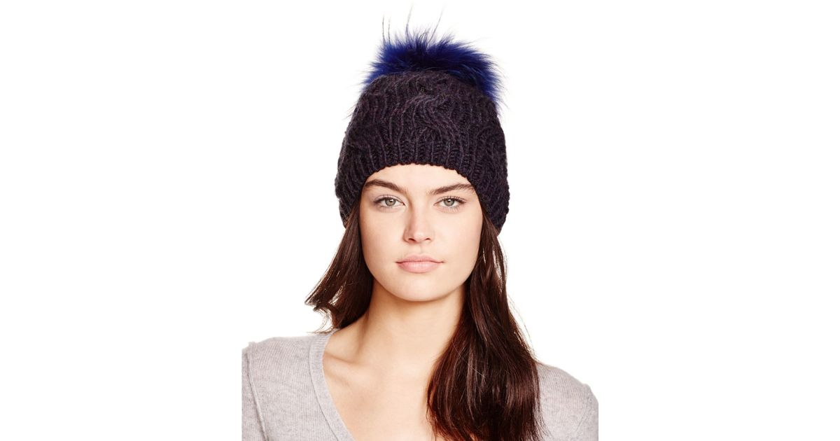 02b4a378697 Lyst - Echo Cable Knit Beanie With Asiatic Raccoon Fur Pom-pom -  Bloomingdale s Exclusive in Blue
