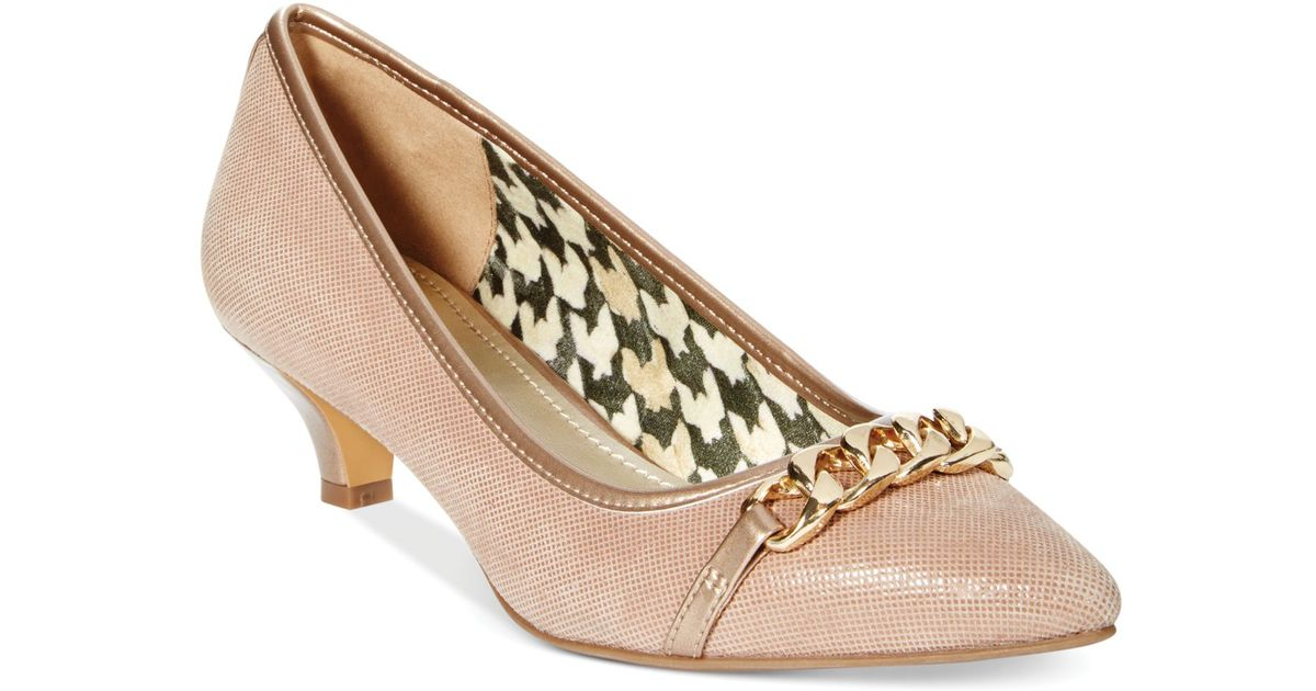 175ee916618 Lyst - Anne Klein Mikaela Kitten Heel Pumps- A Macy S Exclusive in Natural