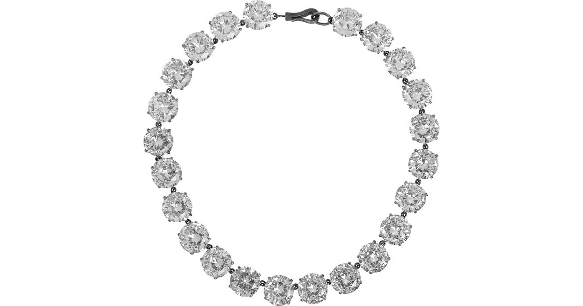 multicolour cubic zirconia oxidized silver necklace - Metallic Bottega Veneta DKYEgV1