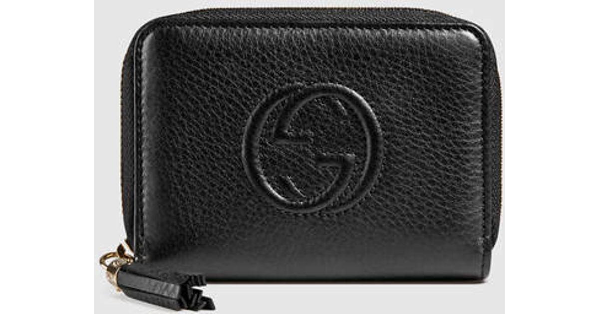 c24c5dd9b6f3 Gucci Soho Leather Disco Wallet in Black - Lyst