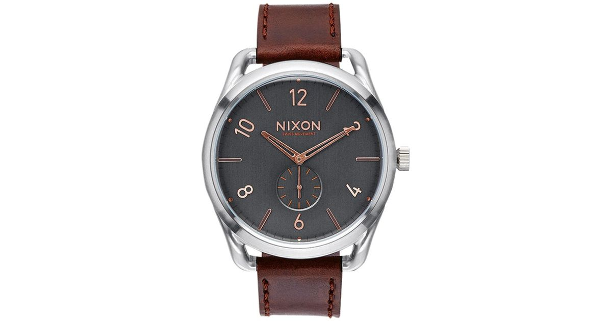 fcc580dfcd4 Nixon Men s C45 Custom Leather Strap Watch in Gray for Men - Lyst