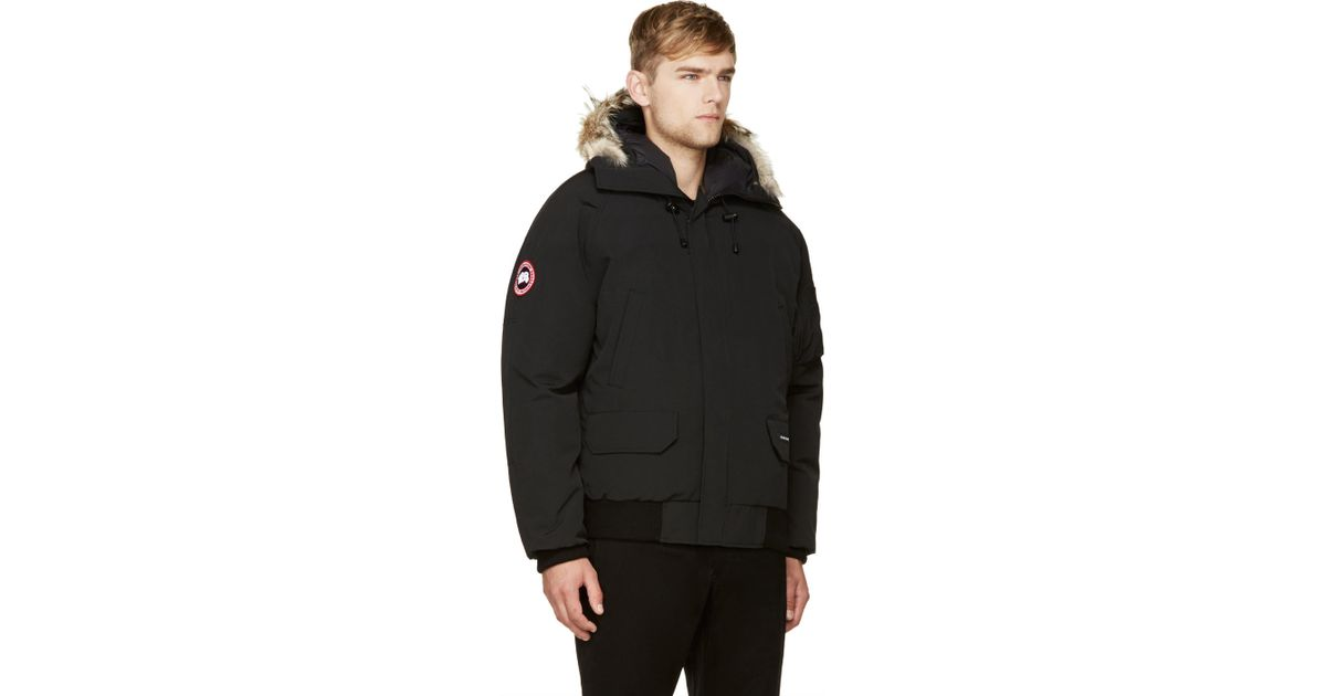 aa4c94f6987 ... top quality lyst canada goose black down and fur chilliwack bomber in  black for men 786c3