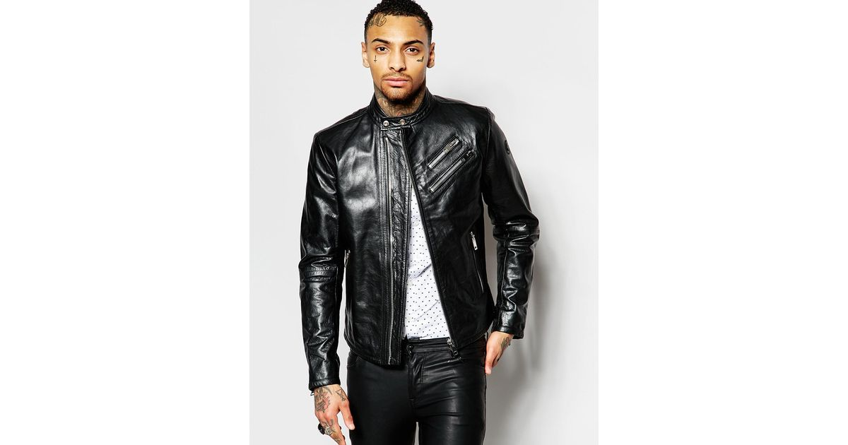 0fcd24e65 DIESEL Leather Biker Jacket L-oyton Zip Detail In Black for men