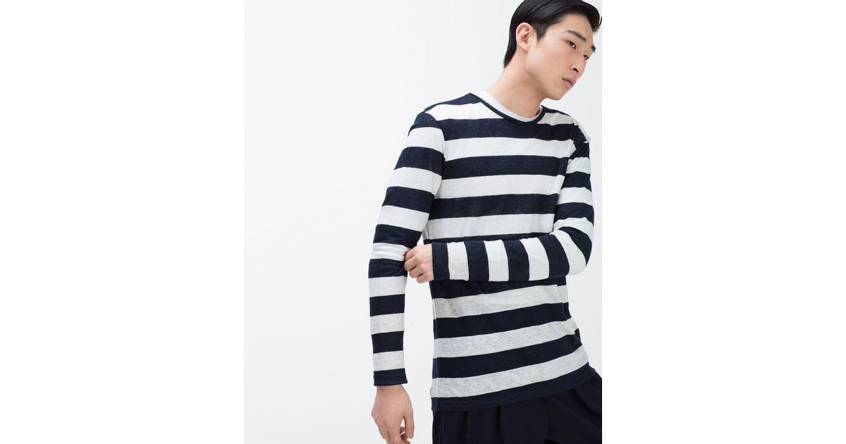 Zara striped linen t shirt in black for men lyst for Zara mens shirts sale