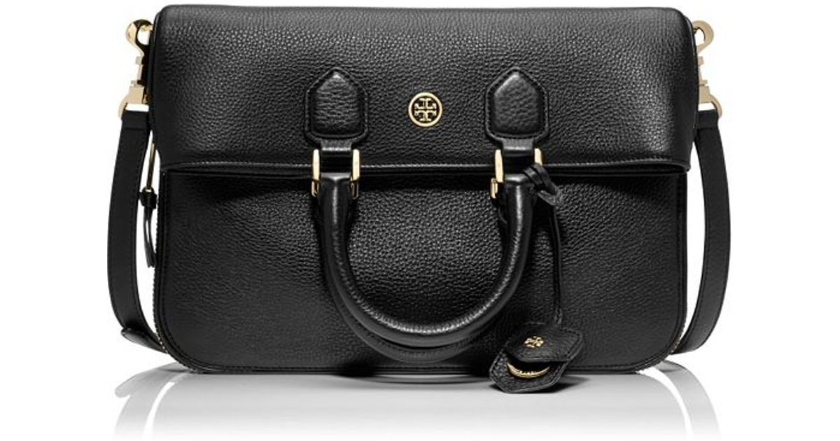 3220212c123 Lyst - Tory Burch Robinson Pebbled Fold-Over Messenger in Black
