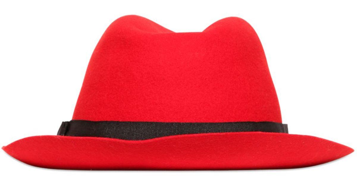 649519275ff Diesel Wool Fedora Hat in Red for Men - Lyst