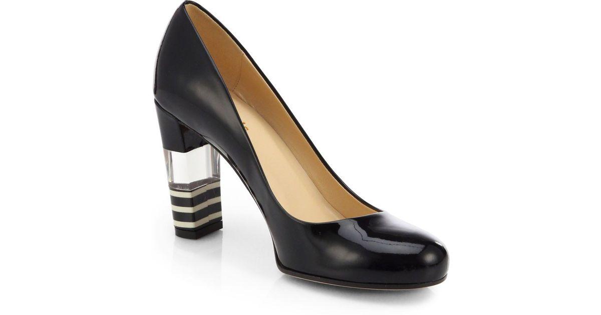 2060940a934 kate spade new york Leslie Patent Leather Lucite-Heel Pumps/Black