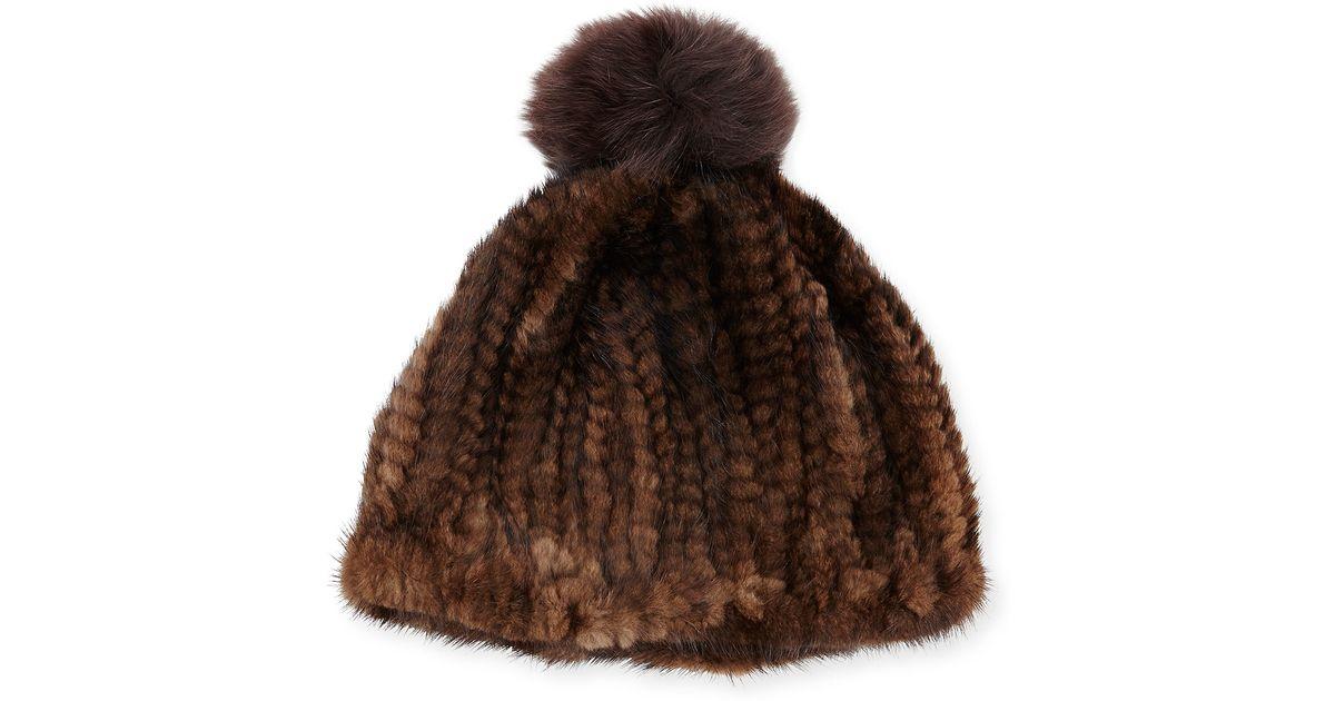 4d0e1596fc08ef Adrienne Landau Knit Mink Hat W/fox Pom-pom in Brown - Lyst