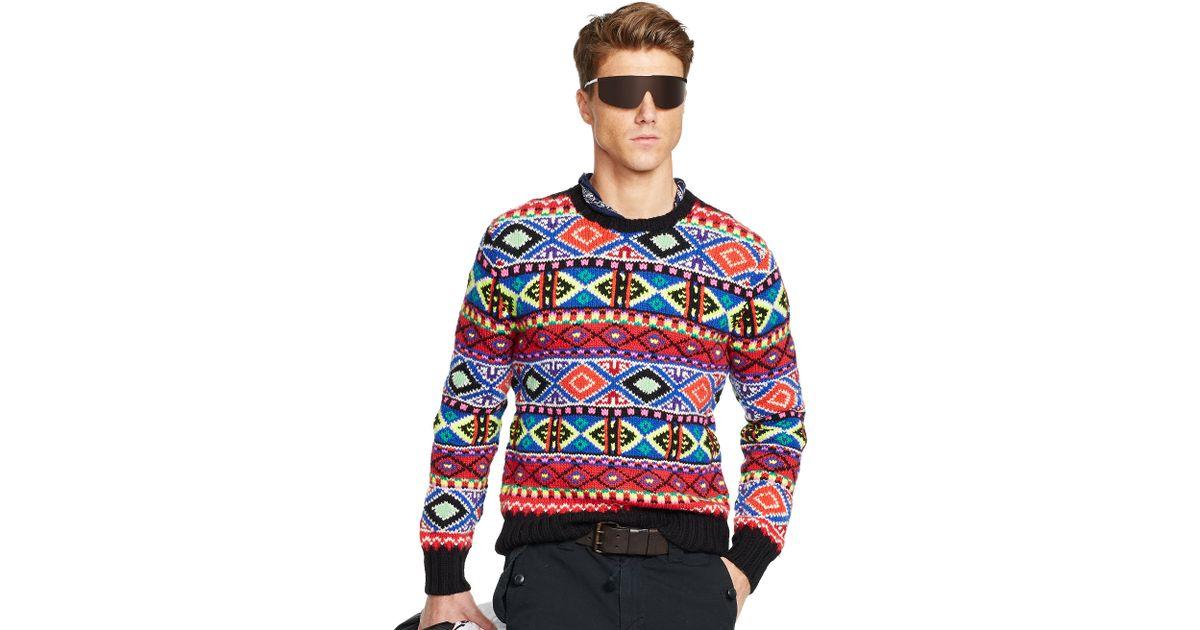 Ralph lauren Neon Fair Isle Sweater | Lyst
