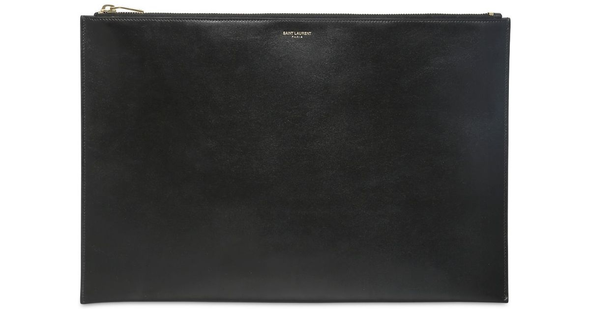 7ee892b419 Saint Laurent Black Brushed Calf Leather Pouch