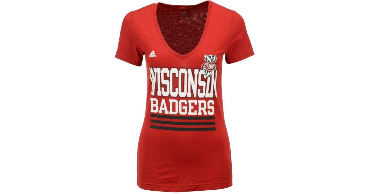 Adidas originals women 39 s wisconsin badgers stripe stack t for Wisconsin badgers shirt women s