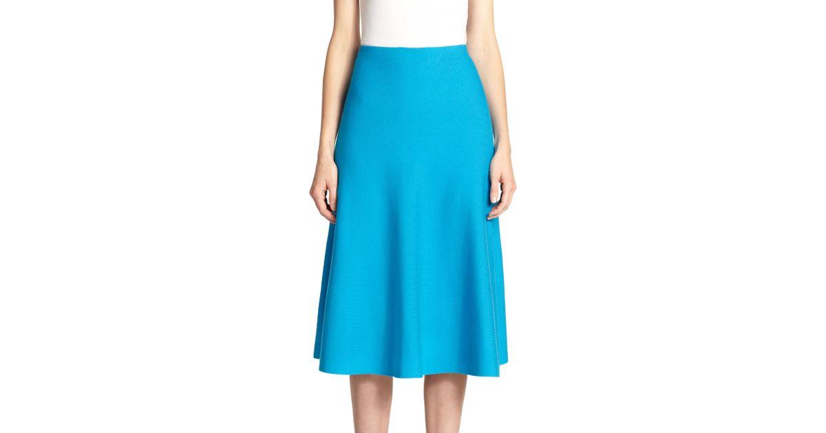 preview of 2019 original wholesale RVN Blue Knit Circular Midi Skirt
