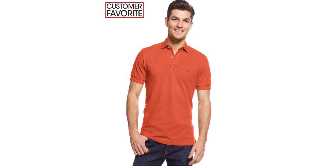 bd9be161f Lyst - Tommy Hilfiger Men's Custom-fit Ivy Polo in Orange for Men