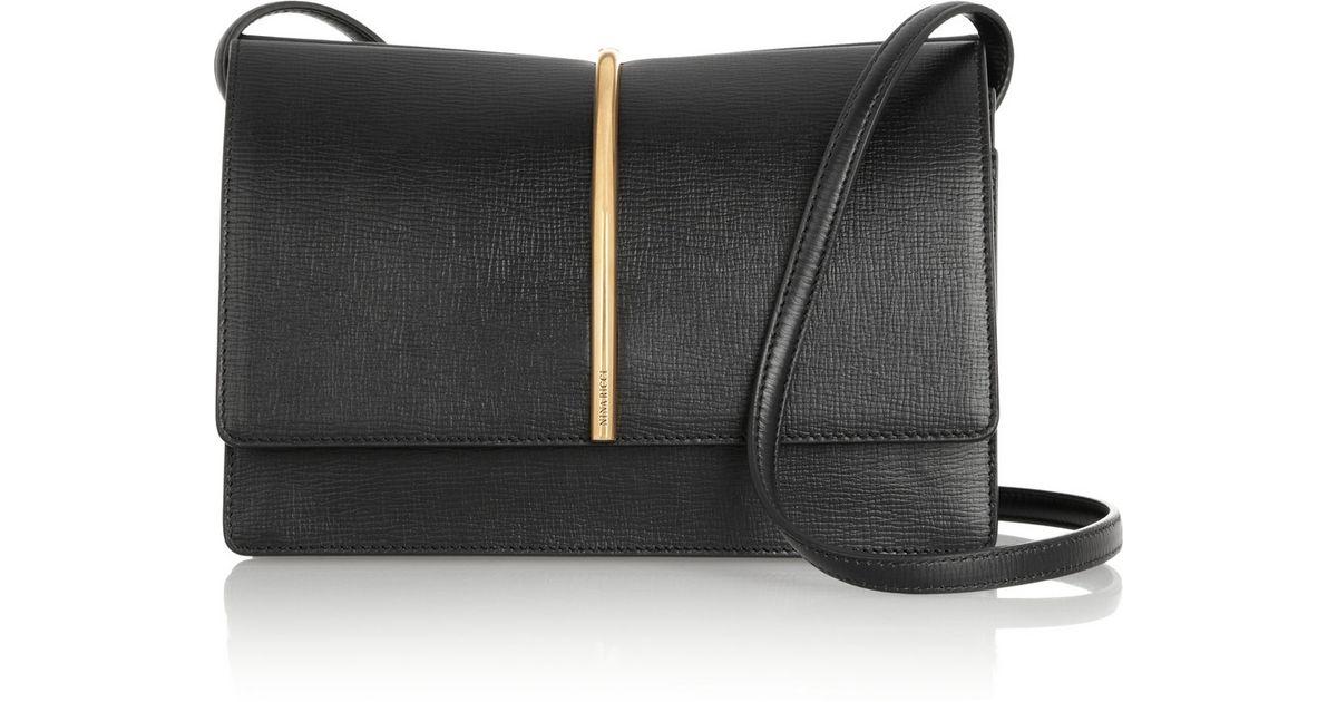 c908fce9368 Nina Ricci Arc Textured-Leather Shoulder Bag in Black - Lyst