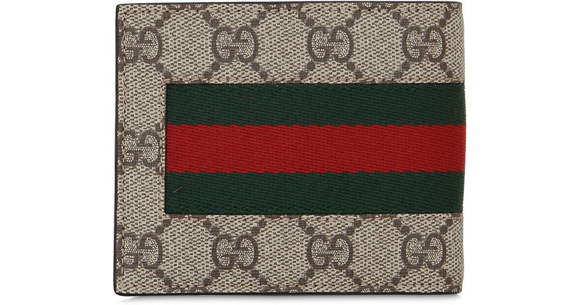 7798a3306942 Gucci Gg Supreme Classic Wallet With Webbing in Natural for Men - Lyst
