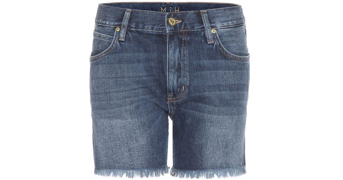 c2e4339d00 Lyst - M.i.h Jeans Pheobe Frayed Denim Shorts in Blue