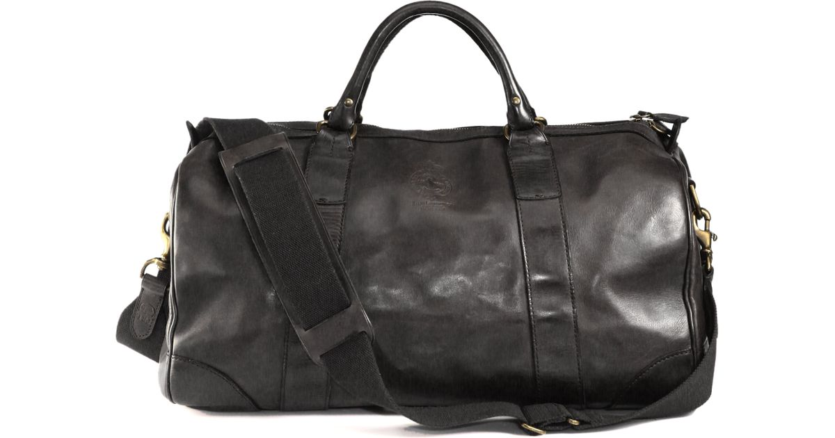 a4db6780e079 Lyst - Polo Ralph Lauren Leather Gym Bag in Black for Men