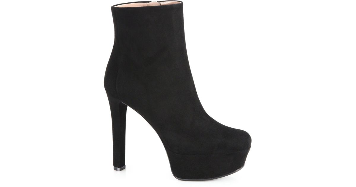 29a058798e Gucci Leila Suede Platform Booties in Black - Lyst