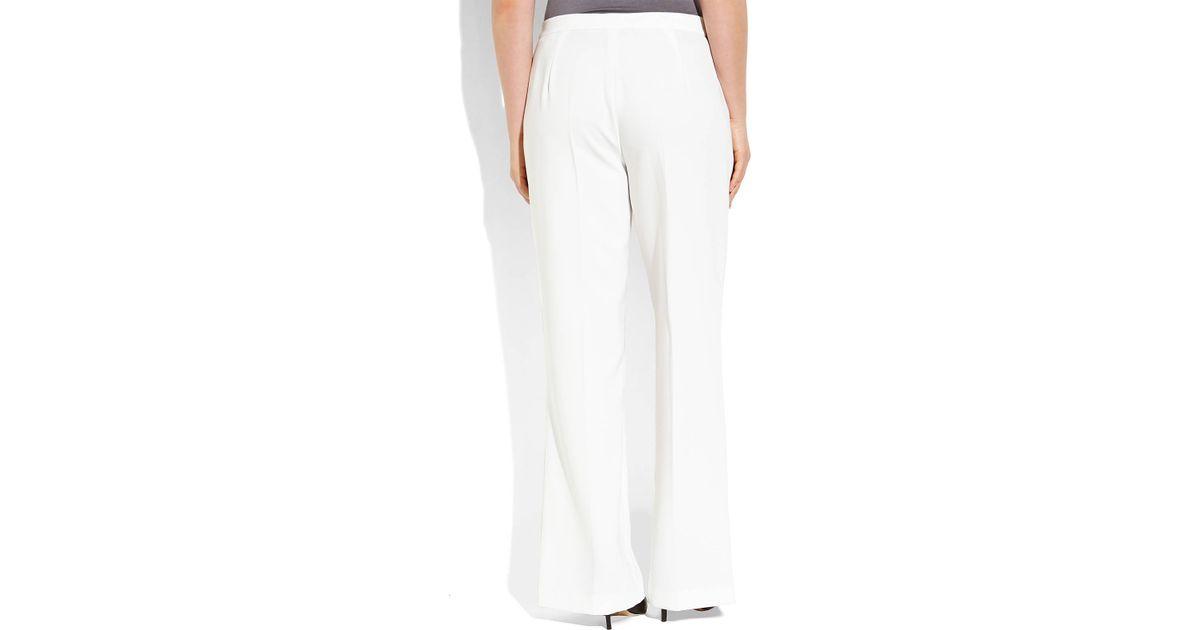 Marina Rinaldi White Plus Size Woven Dress Pants
