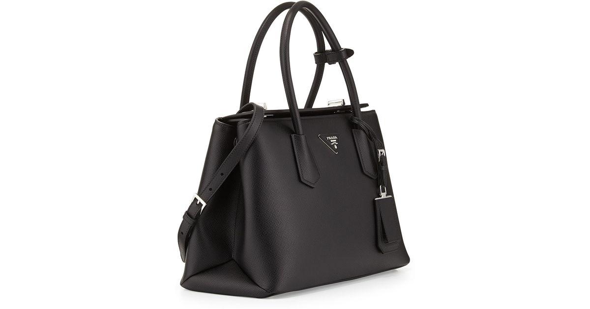Lyst - Prada Saffiano Cuir Twin Bag in Black 453c6ff14b81e