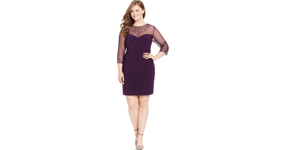 Lyst Patra Plus Size Embellished Illusion Dress In Purple