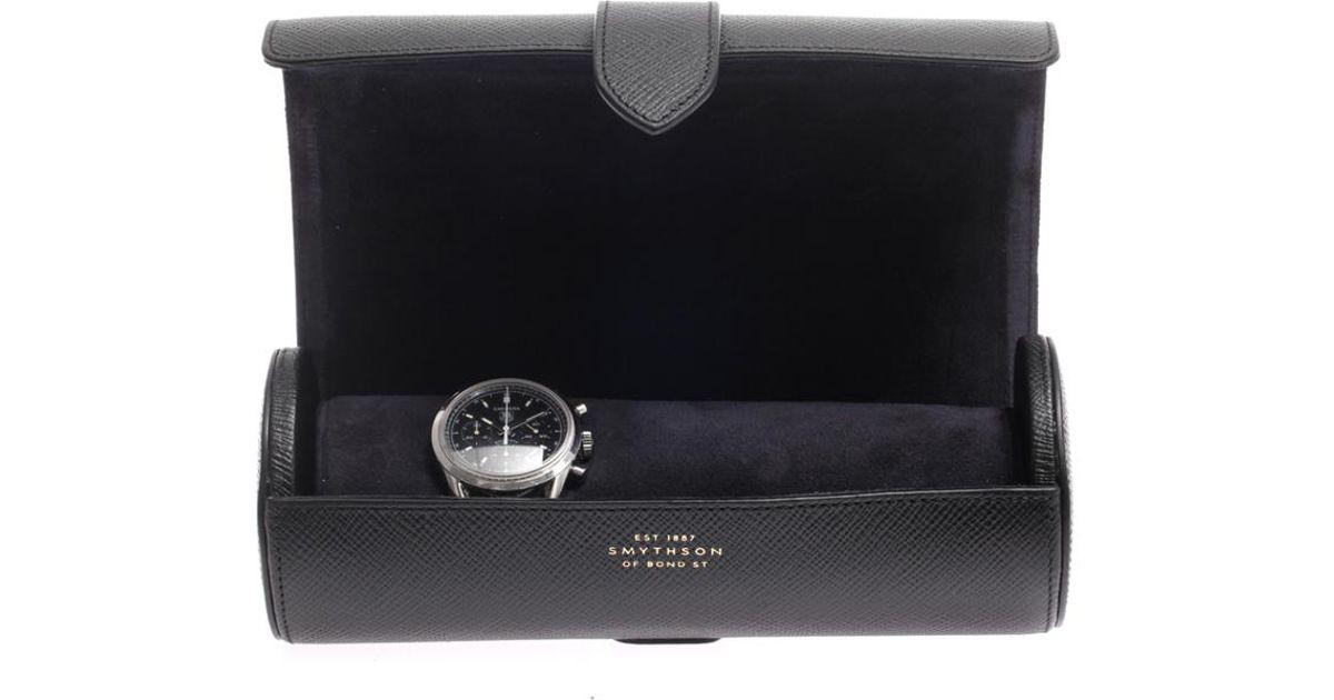 Smythson Texturedleather Watch Roll in Black for Men - Lyst