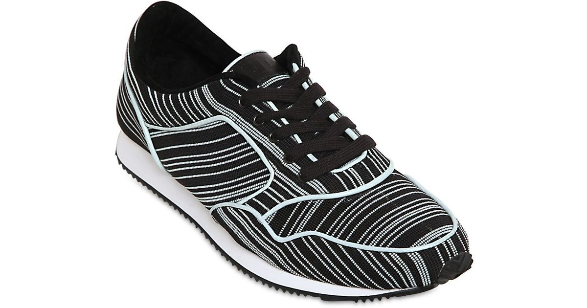 United Nude Stretch Canvas Running Sneakers in Black for