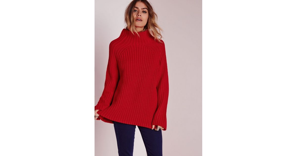 Missguided Chunky Turtle Neck Jumper Red in Red - Lyst 90d83e60f