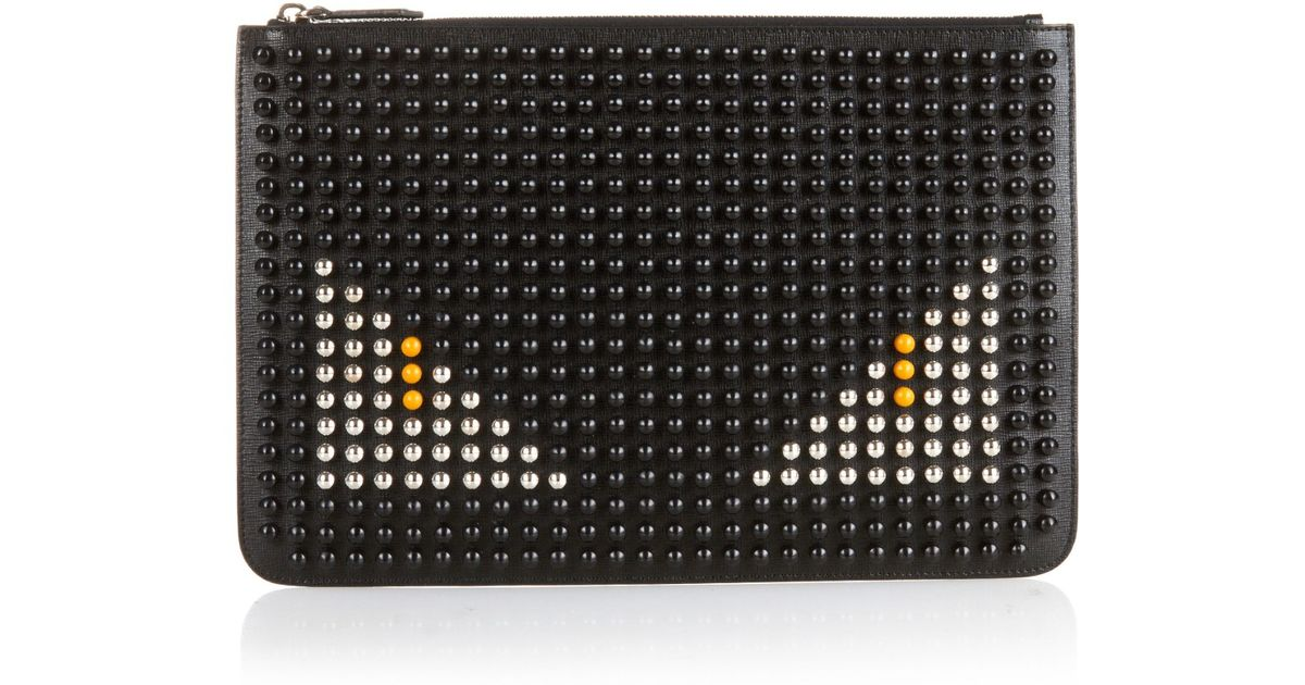 53afb3b509 Fendi Bag Bugs Studded Leather Pouch in Black for Men - Lyst