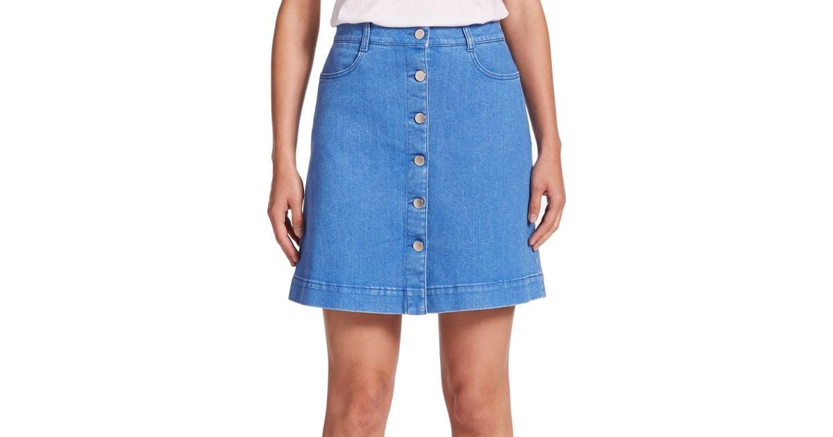 Lyst - Stella McCartney Button-front A-line Denim Skirt in Blue 97aaf9a7f7db