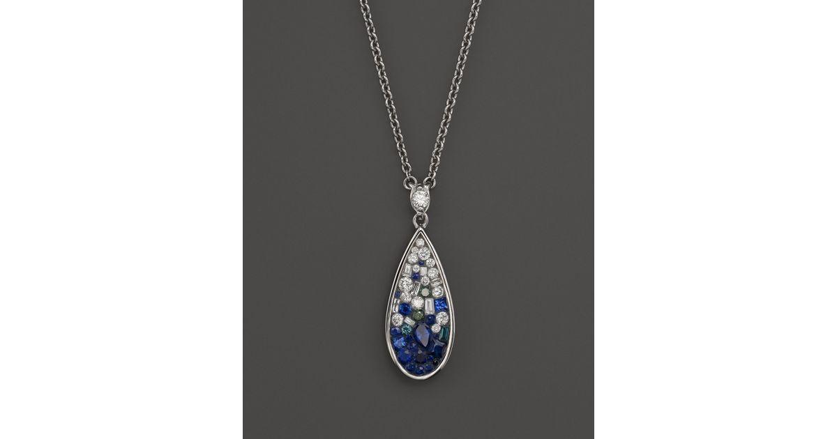 Wonderful Lyst - Plevé Plevé 18K White Gold Blue Ombre Mosaic Teardrop  OR79