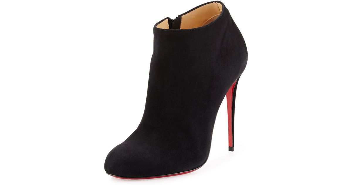 Christian louboutin Bellissima Suede Red Sole Bootie in Black | Lyst
