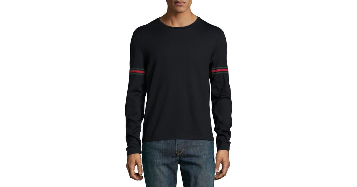 Lyst gucci long sleeved t shirt with arm band details in for Shirts for men with long arms