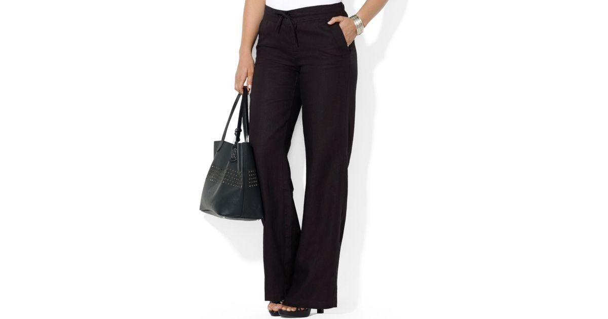 lauren by ralph lauren plus size wideleg linen pants in black | lyst