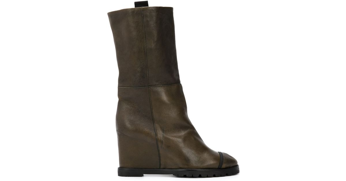 chuckies new york wedge mid calf boots in green lyst
