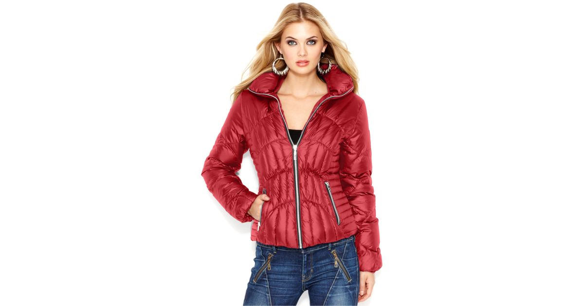 71e1a0441 Guess Red Quilted Down Puffer Jacket
