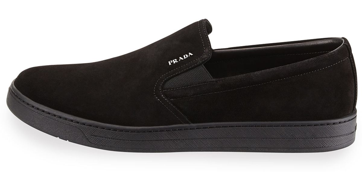 Prada Suede Skate Shoe in Black - Lyst