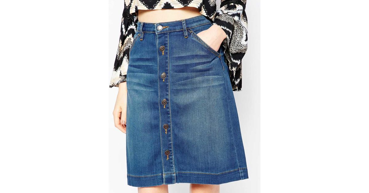 dittos high rise button front denim skirt in 70 s