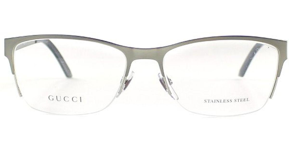 d79cc05344 Gucci Gg 4236 Cqk Ruthenium Semi Rimless Eyegles In Metallic For