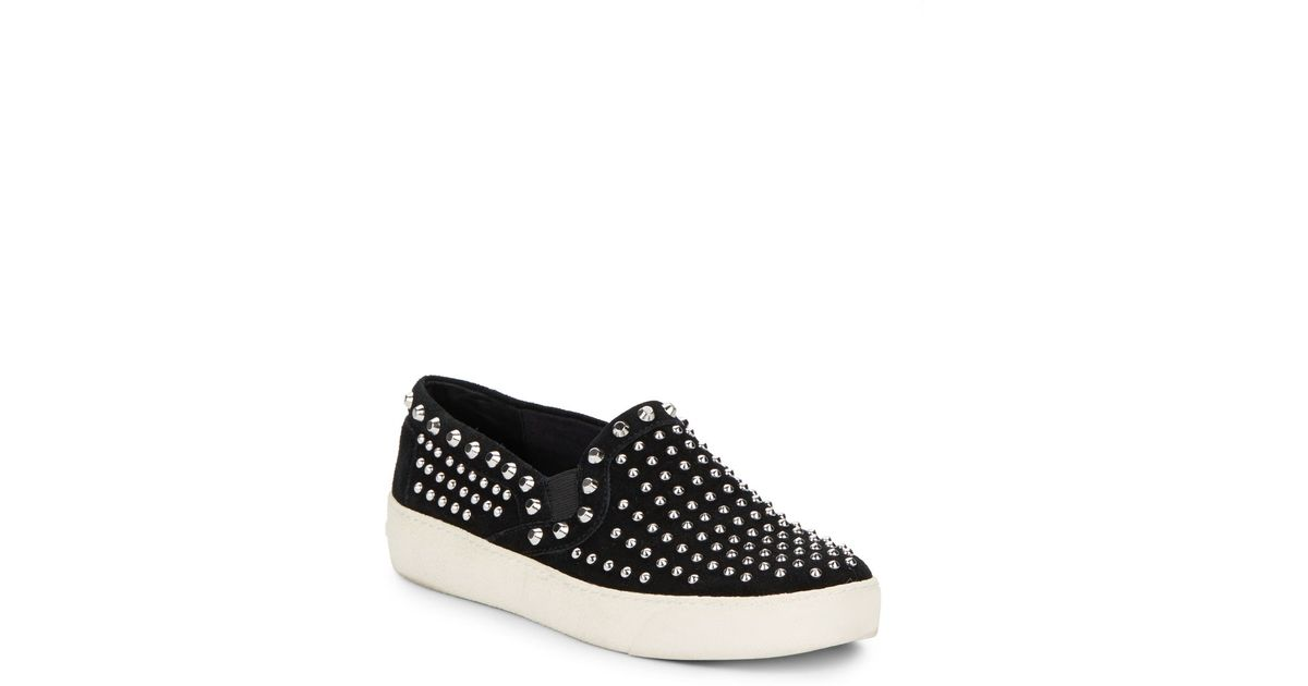 58b20db7275e76 Lyst - Sam Edelman Braxton Studded Suede Slip-On Sneakers in Black