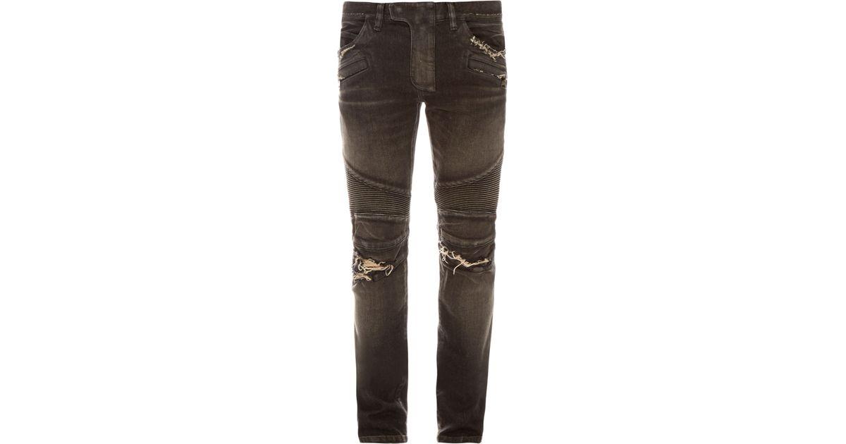 68000718b4d Balmain Distressed Biker Jeans in Black for Men - Lyst