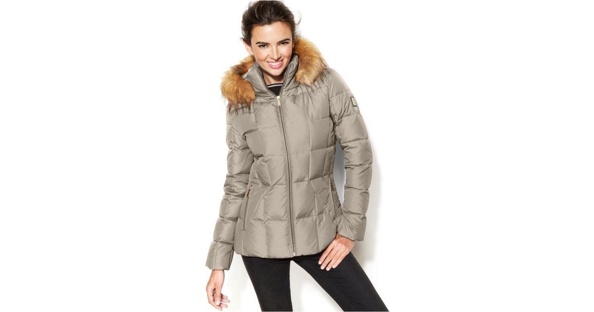 b970acdb1 Calvin Klein Natural Faux-Fur-Trim Hooded Puffer Down Coat