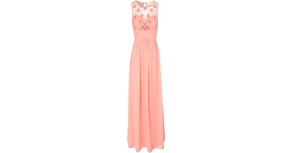 Lyst - Jane Norman Daisy Embellished Maxi Dress in Pink
