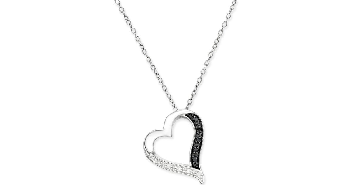 Macy s Black And White Diamond Heart Pendant Necklace 1 10 Ct T w In