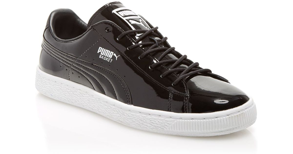 Puma Basket Patent Leather Sneakers In Black White Black