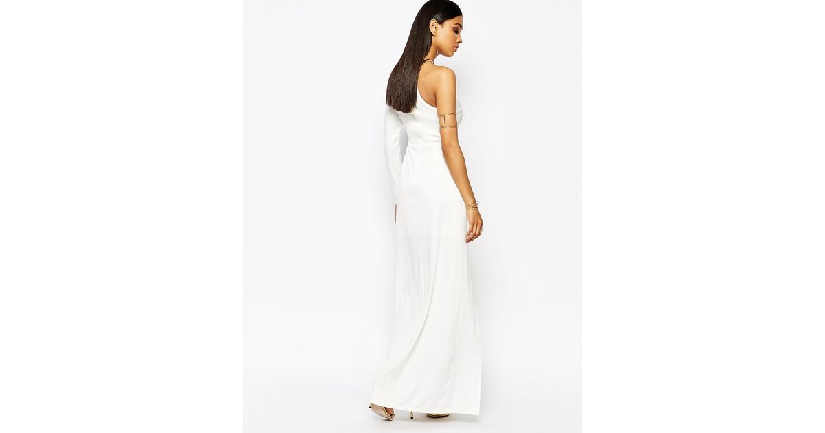 9f84fd9686e Missguided Thigh High Split Maxi Dress in White - Lyst