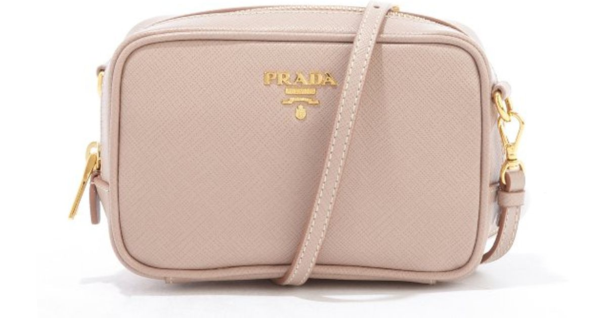 ba8ab8fff1ff69 ... closeout lyst prada dusty rose saffiano leather mini crossbody bag in  pink 31cfb 42707
