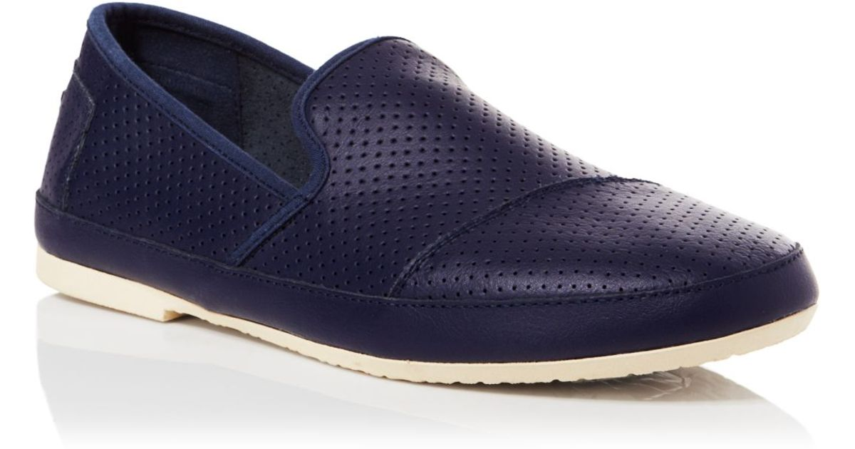 5d818e13e65 Lyst - TOMS Sabados Perforated Leather Slip Ons in Blue for Men